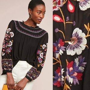 Anthro Akemi + Kin Louise embroidered top